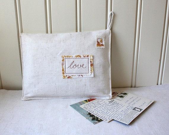 loveletters -organizer, embroidered fabric envelope