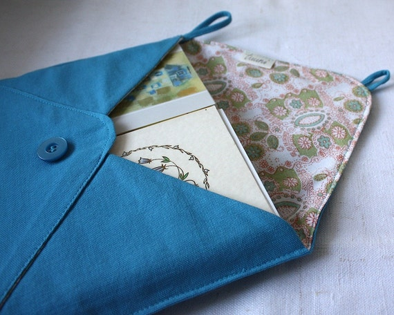 postcards from europe - mail organizer, teal blue