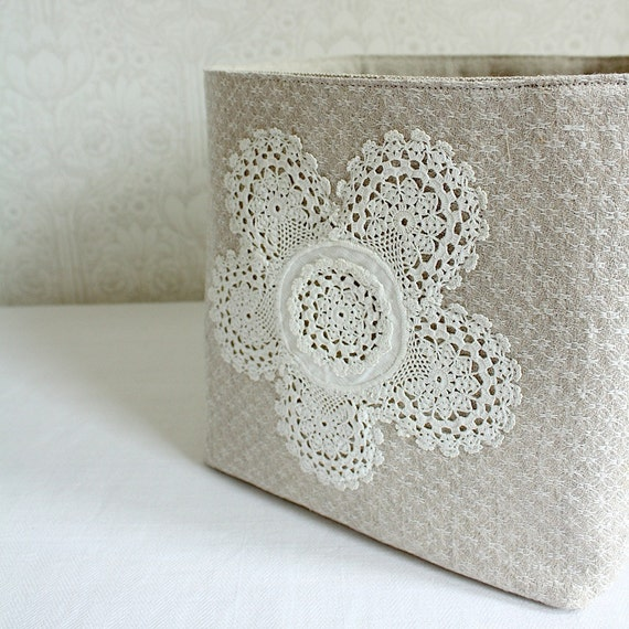 storage bin, size L -linen and lace collection