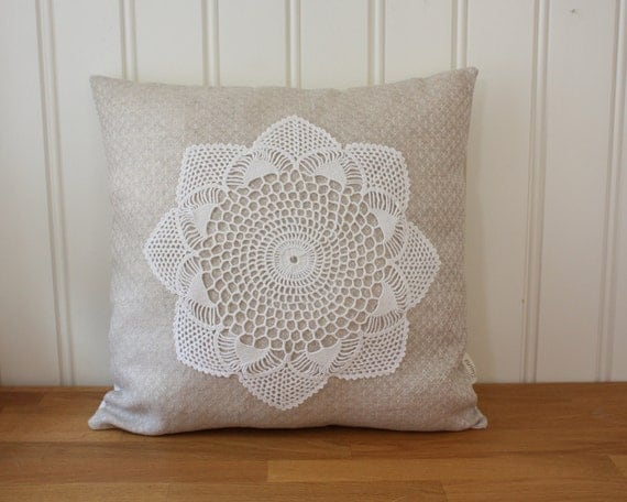 decorative pillow cover 16x16 inches -linen and lace collection no. 8