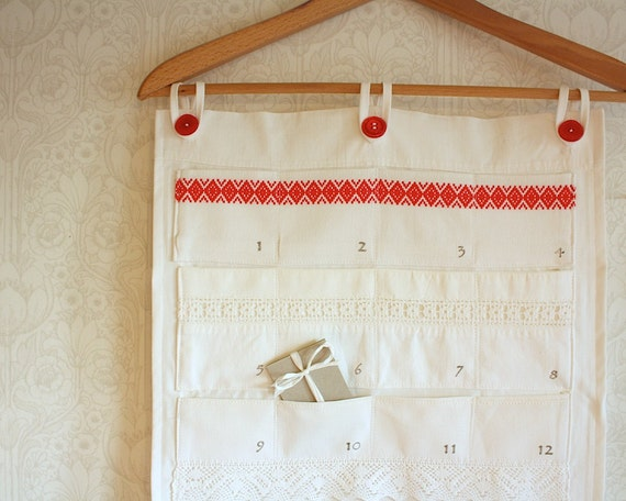 eco friendly advent calendar, white & red