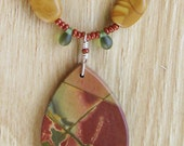 Red Creek and Gold Leaf Jasper Necklace and Earrings Set