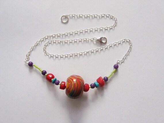 Vibrant Color Swirl Pendant Necklace - ooak