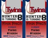 Sports Baseball Ticket Birthday Invitation- DIGITAL