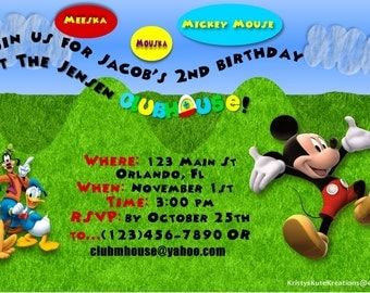 Disney's Mickey Mouse Clubhouse Birthday Invites OR Thank you's- DIGITAL