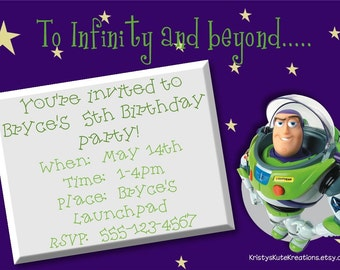 Disney Buzz Lightyear Invitation OR Thank you card- DIGITAL