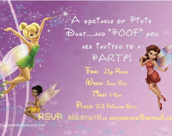 Disney's Fairies Invitation AND Thank you card- DIGITAL