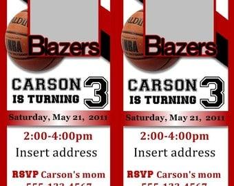 Sports Basketball Ticket Birthday Invitation-Digital