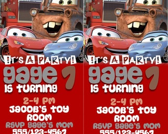 Disney's Cars Admit One Ticket Birthday Invitation- DIGITAL
