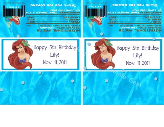 Little Mermaid Candy Bar Wrappers-Digital File-Check out the matching Birthday Invitations