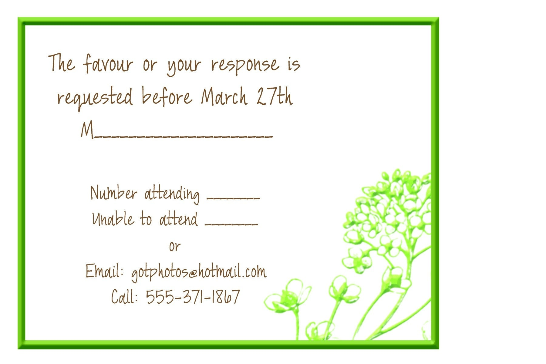 Wedding Invitation Regrets: Samples Of Completed Rsvp Regrets To A Wedding