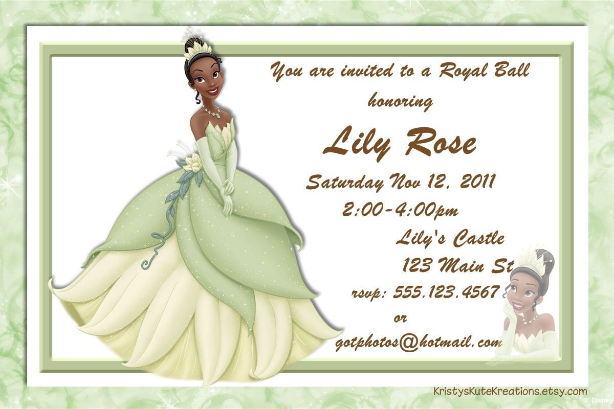 Disneys Princess and the FrogTiana birthday Invitation – Princess Tiana Party Invitations