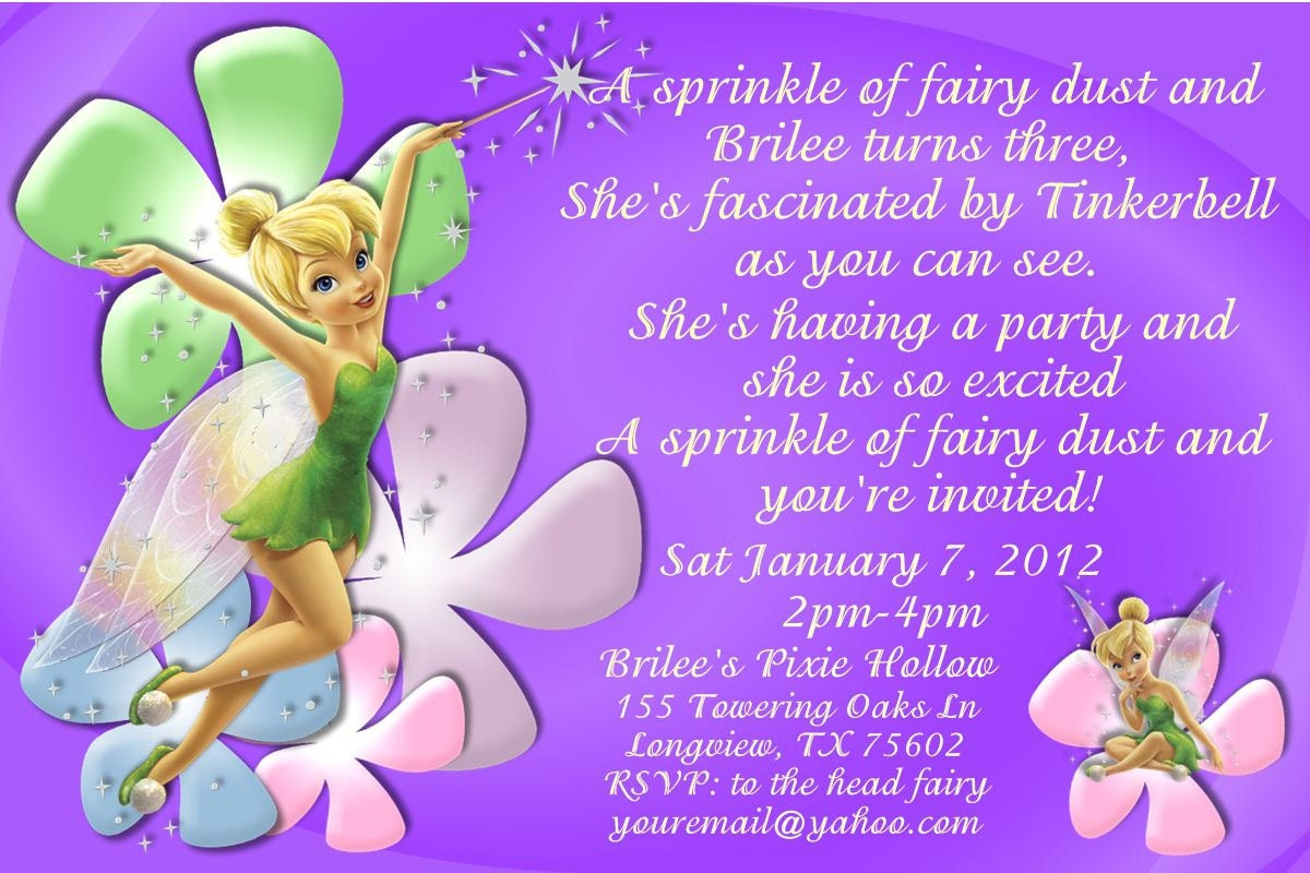 Tinker Bell Invitation as great invitations layout