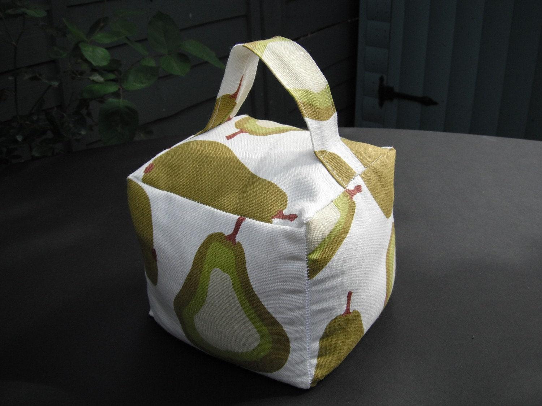 Fabric Door Stop Green Retro Pear Pattern