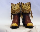 Reserved for Cheryl - Buckskin Fringed Elkskin Boots and Handbag Set