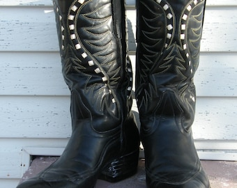 50's Vintage Black Stovepipe Boots