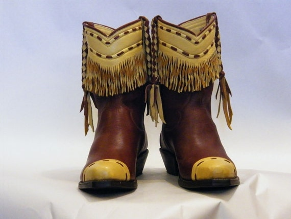 Reserved for Cheryl - Buckskin Fringed Elkskin Boots and Handbag Set