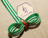 Apple Green and White Grosgrain Ribbon 3 yards