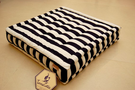 Set of two floor cushion deep blue and white stripe (ANNA)