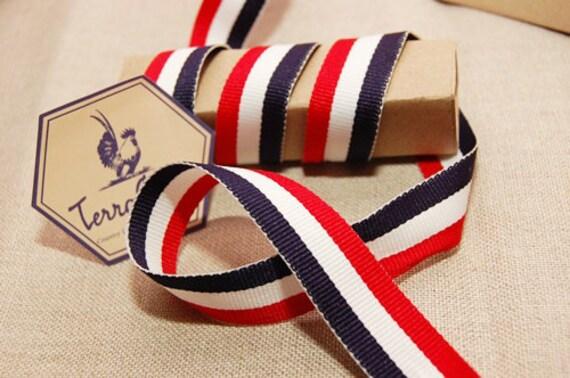 French Stripe Navy Blue/White/Red Grosgrain Ribbon Trim 27 yards for ISABELLE