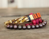 Pink Ethnic Freshwater Pearls and African Cotton Bracelet