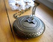 CIJ Sale - Bronze Circle Locket with Butterflies