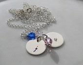 DOUBLE DAINTY INITIAL Hand Stamped Sterling Tag Necklace - Swarovski Crystal or Pearl - Mom Grandma Gift