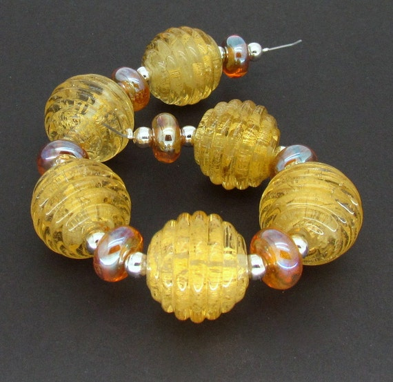 "Lampwork Bead Set FHFteam UK SRA - ""Golden Ticket"" Gold Ribbed Glass Rounds"