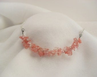 Cherry Quartzy Pink Twisted Chip Necklace