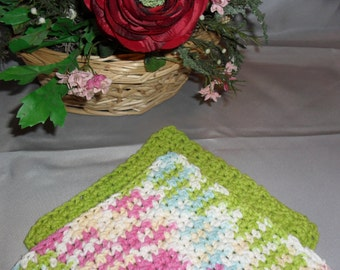100% Cotton Wash Dish Cloth: SPRINGTIME BRIGHTS COLLECTION  Set of Two