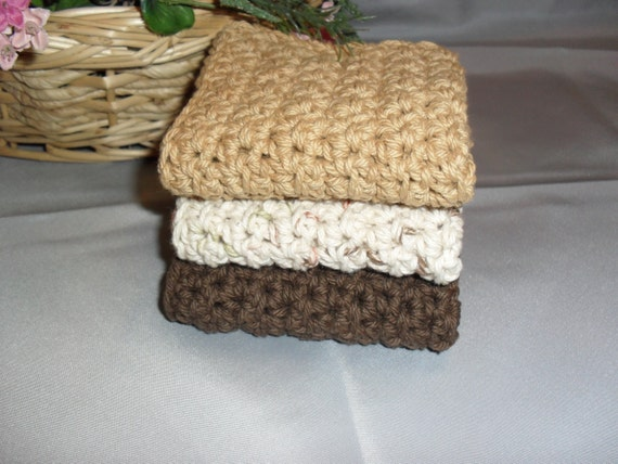 100% Cotton Wash Dish Cloth: COFFEE and CREAM COLLECTION  Set of Three