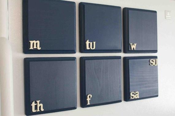Bigger Magnetic Chalkboard Weekly Calendar (Navy w/ Cream Letters)
