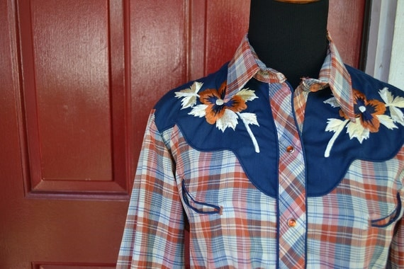 Vintage KENNY ROGERS hand embroidered plaid snap western shirt 13/14