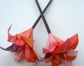 Origami Flower Hair Stick- Pink and Purple