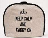 """Tea Cozy / Cosy - """"Keep Calm and Carry On"""" on Belgian Linen"""