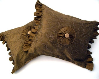 Bronze Silk with Embellished Medallion and Ruffles / Set of two Pillows