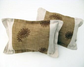 Natural Linen Pillow w/ Paisley Panel