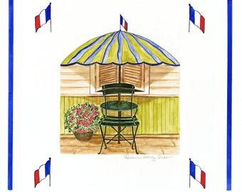 French Cafe Vignette /Giclee print / Watercolor