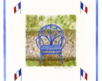 French Blue Bentwood Chair by Stone Wall / Giclee Print / Watercolor