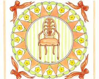 Adams Style Boudoir Chair/ Giclee Print/ Watercolor