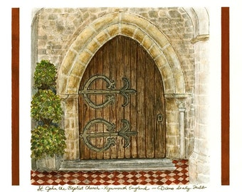 Church Door, St. John the Baptist, Lynmouth, England/ Giclee Print/ Watercolor