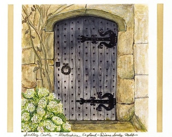 Medieval Castle Door,Gloucestershire, England/ Giclee Print/ Watercolor