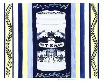 Delft Blue and White Tea Caddy/ Giclee Print/ Watercolor