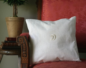 Vintage Monogrammed Cottage Style Pillow/ Shabby Chic