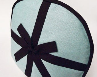 Tea Cozy / Cosy - Robin's Egg Blue Linen with Black Bow