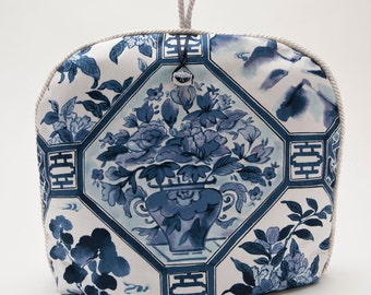 Tea Cozy / Cosy - Chinoiserie Blue and White with Floral Motif and Glass Bead Charm