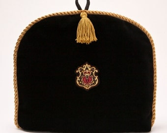 Tea Cozy/ Cosy -Royal Crown Crest on Black Velvet with Gold Tassel