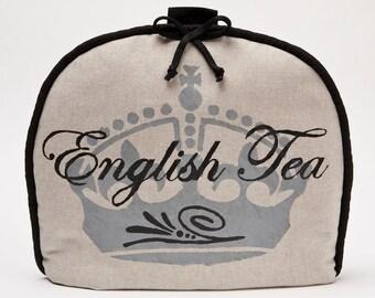 Tea Cozy / Cosy -English Tea Calligraphy Script with Crown