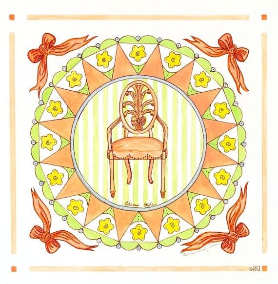 Adams Style Boudoir Chair/ Giclee Print/ Watercolor