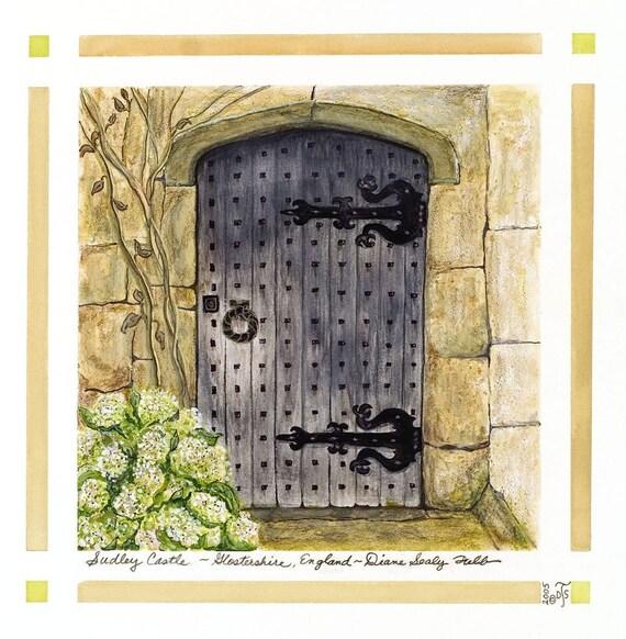 Medieval Castle Door,Gloucestershire, England/ Giclee Print/ Watercolor